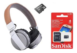 Kit Fone De Ouvido Sem Fio Bluetooth E Cartão 4gb San Disk !