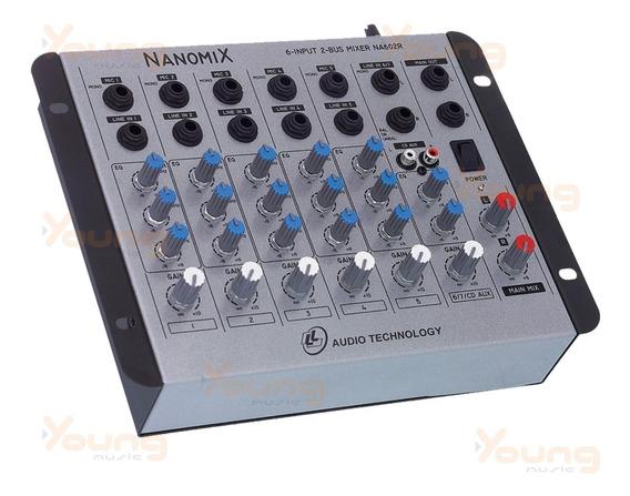 Mesa De Som 6 Canais Nanomix Na602r Nca Stereo Full