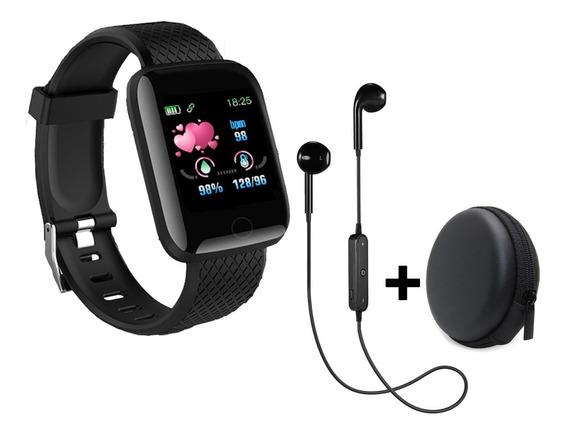 Relógio Inteligente Fitness Com Bluetooth + Fones Sem Fio