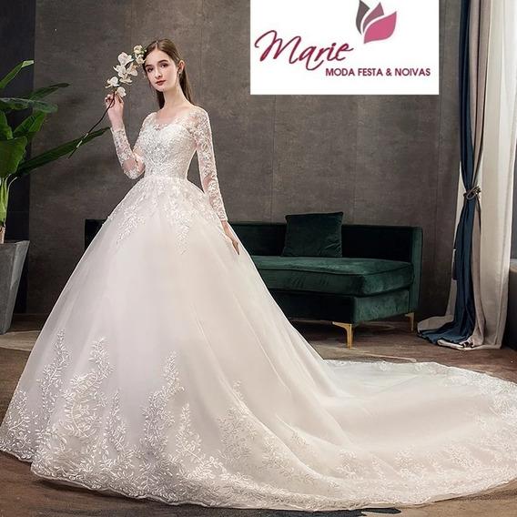 Vestido De Noiva Princesa Cauda Promo Barato Brinde Véu