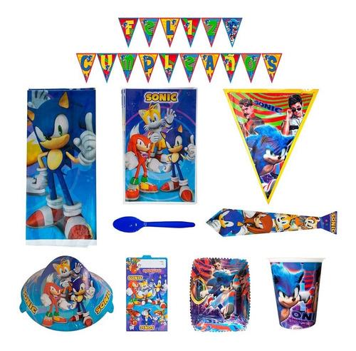 Kit Decoración Sonic Fiesta Cumpleaños X12