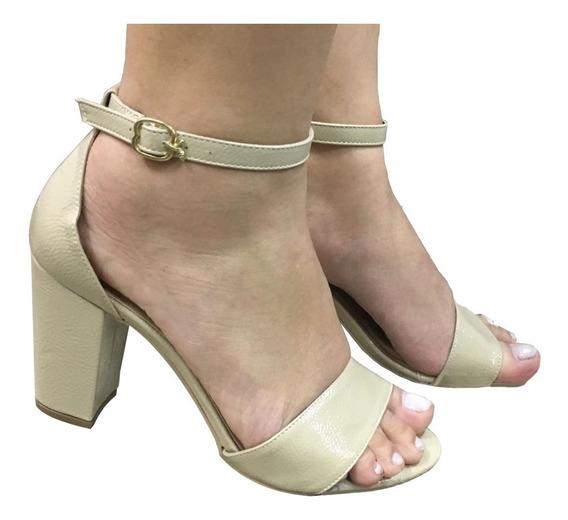 Sandalias Femininas Nude Bege Salto Grosso Salto Medio Festa Casamento Sapatos Femininos Saltos Baratos Promocao
