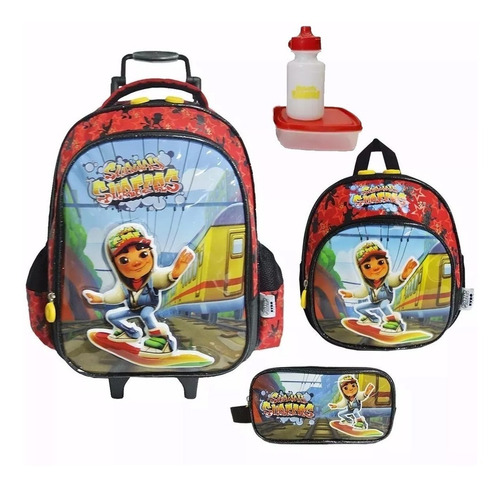 Kit Mochila Subway Surfers Infantil Escolar Tam G Meninos