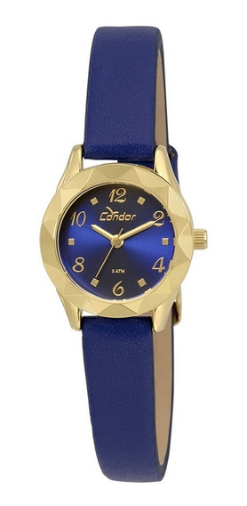 Relógio Condor Feminino Co2035kre/2a Dourado Couro Azul