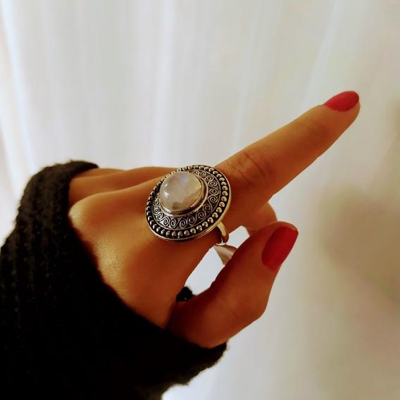 Anel Prata 925 Com Pedra Da Lua Mandala