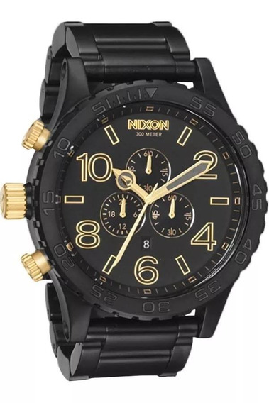 Relogio Nixon 51-30 A083 1041 Preto Com Detalhes Dourado