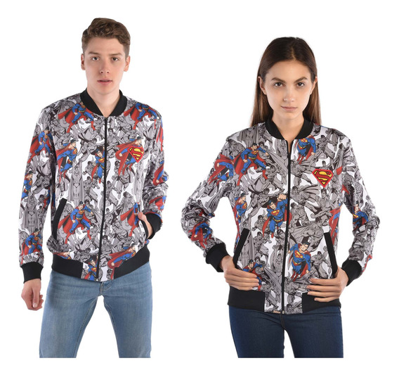 Bomber Jacket American Level Superman Blanco Unisex