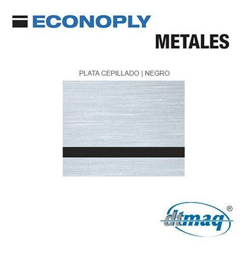 Plástico Laserable Econoply Plata Cepillado / Negro 60x40