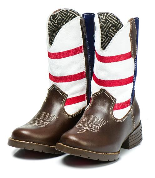 Bota Country Infantil Kids Texana Unisex Em Couro Cowboy Usa