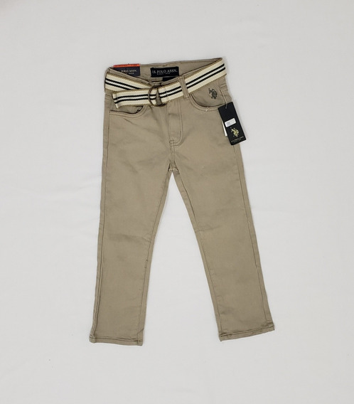 Pantalon Us Polo Assn Niño 6 Años Flex Café Con Cinturon.