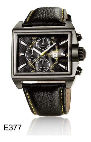 Relógio Pulso Everlast Masculino Aço Couro Cronografo E377
