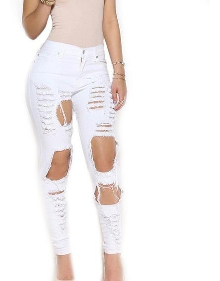 Calça Jeans Feminina Rasgada Cós Alto Roupas Moda Dins