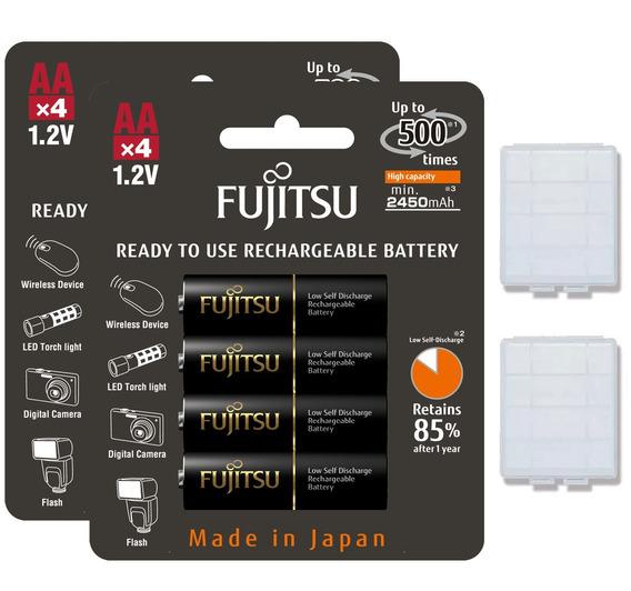 8 Pilhas Aa Recarregáveis 500x Fujitsu Eneloop Pro 2550mah