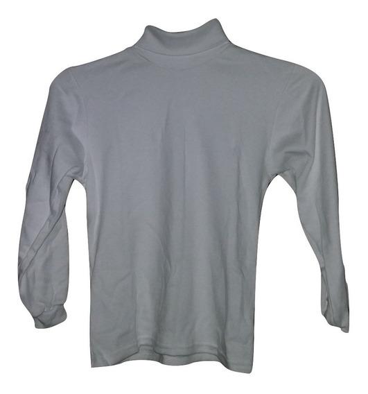 Camiseta Blanca Cuello Tortuga, Manga Larga Para Niño O Niña