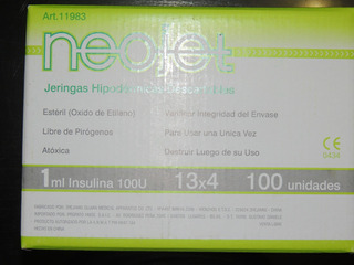 Jeringas Insulina 1ml 100u Con Aguja 13x4 Neojet X 100u.