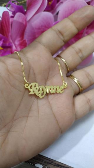 Gargantilha Nome Raynne Banhada A Ouro 18