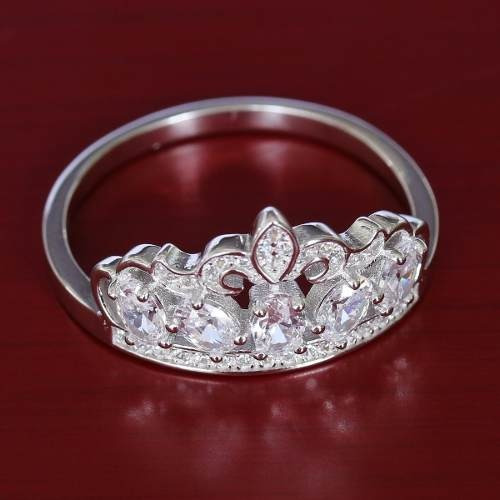 Anel Feminino Cristal Prata Maciça 925 Coroa Tiara Princesa