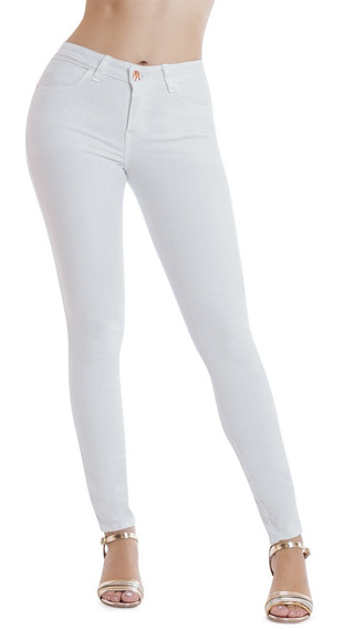 Jeans Skinny Super Stretch Tiro Alto Blanco Liso Devendi