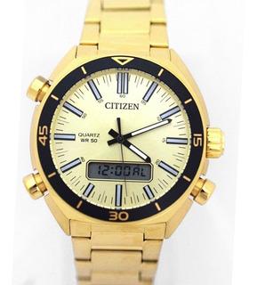Reloj Citizen Jm546256p Analogo Digital Acero Gold Watch Fan