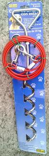 Estaca Metálica De Amarre 40cm X 9mm Con Cable De 3m Perros