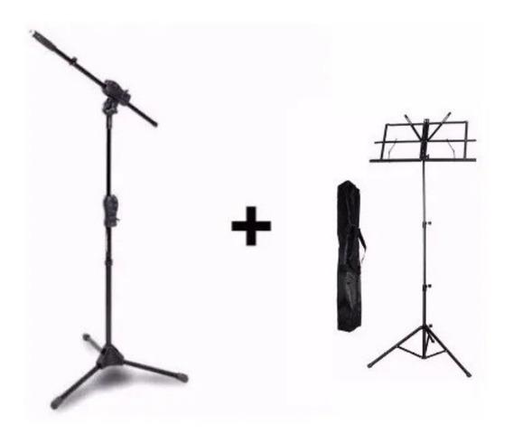 Pedestal Para Microfone Smmax Ibox + Estante De Partitura