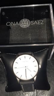 Reloj Ona Saez Hombre Acero/cuero Nuevo