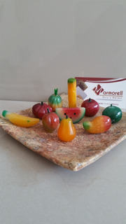 Juego De Frutas De Piedra Onix Natural, Charola De Marmol