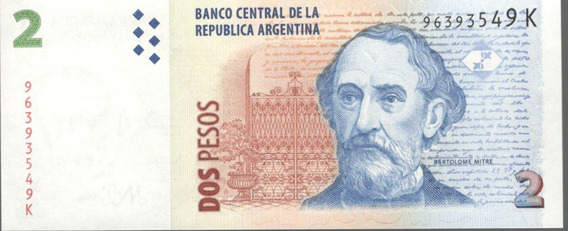 Billete Argentina 2 Pesos 2010 Bartolome Mitre