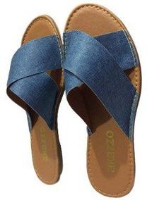 Rasteirinha Feminina Akazzo Jeans Azul Jass - 421j-30