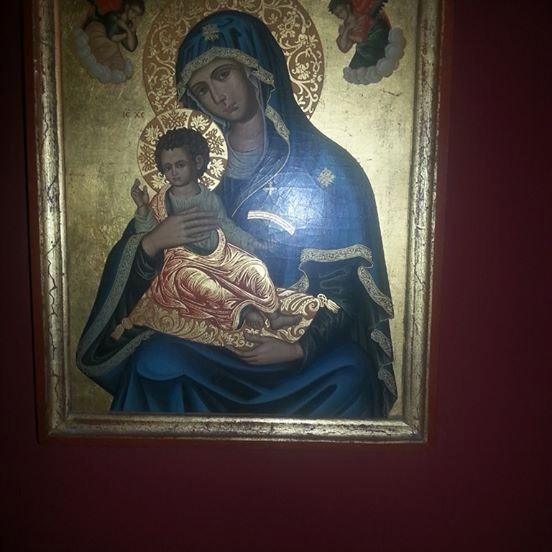 La Virgen Y El Niño, Cuadro Bizantino Pan De Oro Luis Xv