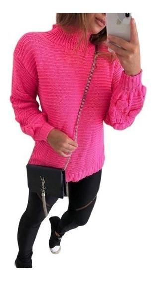 Suéter Casaco Feminino Tricot Gola Alta Outono/inverno