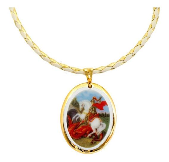 Medalha São Jorge Ouro E Corrente Couro Sintético
