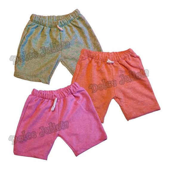 Pack X 3 Shorts Colegial Algodon Rustico C/ Bolsillos Niños
