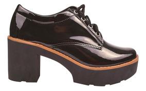 Sapato Feminina Oxford Salto Alto Tratorado Chiquiteira 2018