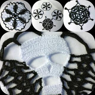 Carpeta Tejida A Crochet Con Calaveras 4 Piezas