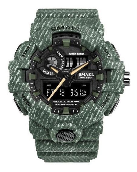 Reloj Militar Deportivo Smael 8001 Shock 50m Camuflaje