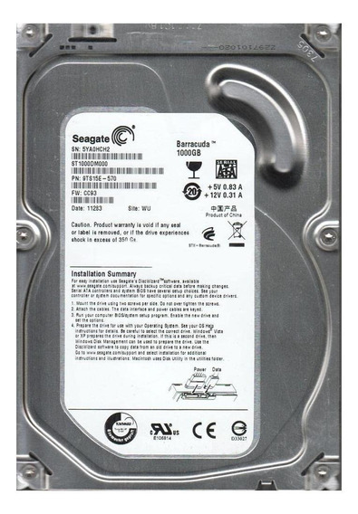 Disco rígido interno Seagate Barracuda ST1000DM000 1TB