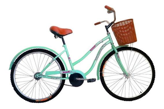 Bicicleta Vintage Cruiser Rodada 24 Con Canasta Y Timbre