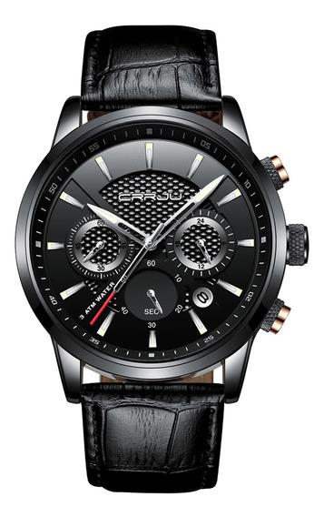 Relógio Masculino Preto Oriental Prata Moda