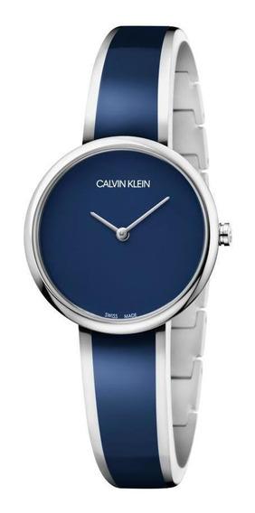Relógio Feminino Calvin Klein Seduce Aço Prata/azul K4e2n11n