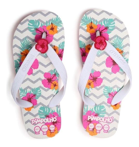 Chinelo Pimpolho Sandália Infantil Praiana Floral Menina