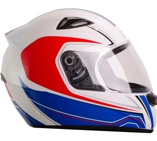 Capacete Fechado Moto Ebf Eox Asgard 60 Branco Vermelho