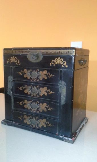 Antiguidade Caixa De Madeira Porta Jóias Chinesa 30x33x20