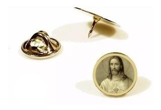 Pin, Botton ,broche Folheado A Ouro Sagrado Coração De Jesus