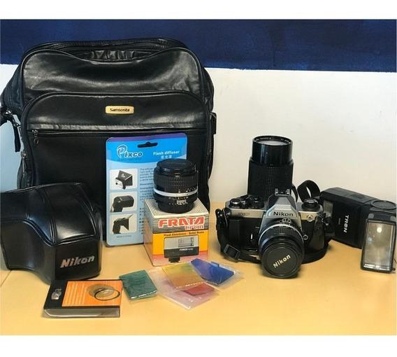 Câmera Fotográfica Profissional Nikon Fm2 + Lente + Flash
