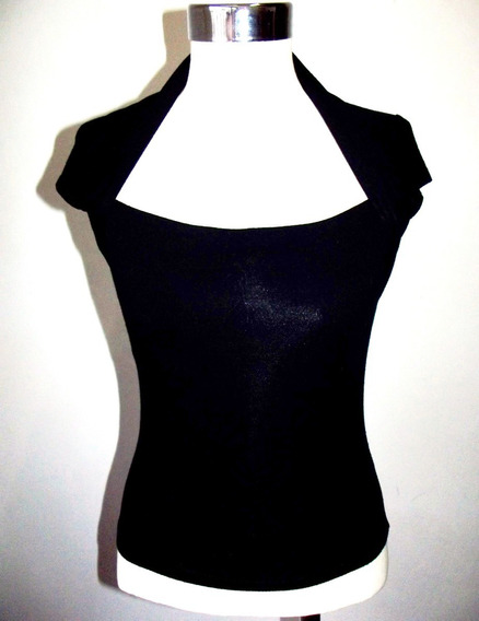 Remera Top Negra Bien Elastizada Retro Vintage M Impecable