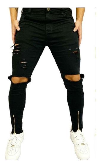 Calça Rasgada Ziper Na Perna Destroyed Jeans Skinny Cores Bz