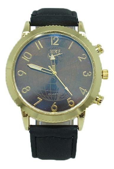 Relógio Nike Dourado Com Pulseira De Couro Preto