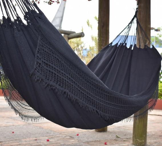 Rede De Dormir Descanso Casal Algodão Cor Preta Artesanal