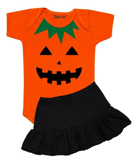 Roupa Para Bebê Halloween Menina Body Com Saia Abóbora